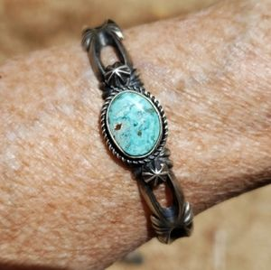 Turquoise Sterling Silver Sandcast Cuff Bracelet